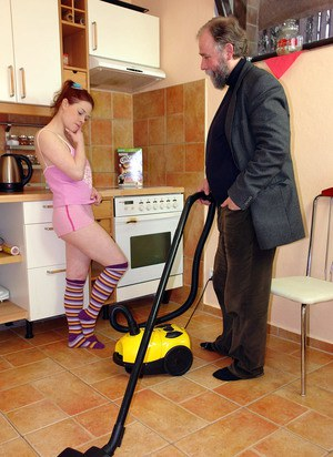 Horny housewife seduces the old vacuum salesman while hubby is at work