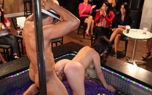 Girls night out gets a little crazy when they start blowing the male strippers