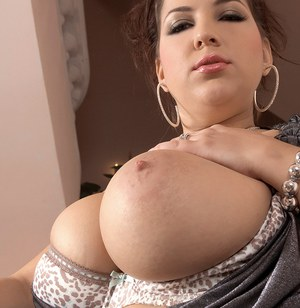Chunky solo girl Angelina Vallem poses her big natural boobs