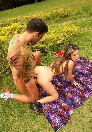 Small tits & big ass get this horny Latina fucked hard on the picnic