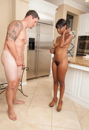 Horny ebony Nina Devon gets man juice all over her very hairy twat