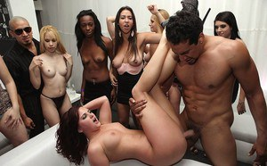 Horny part girls strip naked to ride cock and lick pussy in wild drunken orgy