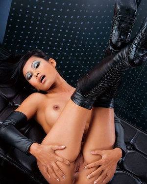 Hot Asian model strikes great nude poses in leather arm socks and boots