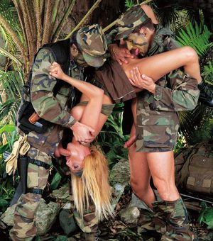 Tough army slut gets a hard jungle fucking from horny soldiers in uniform