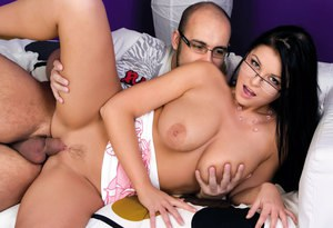 Busty young beauty in glasses sucks cock & gets a huge dripping cum facial