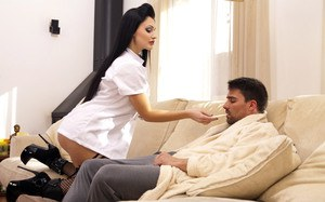 Dark haired nurse seduces her sick patient and he feels much better after sex