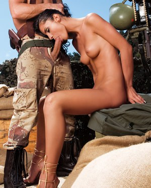 Hottie in sexy military uniform got anally banged outdoors