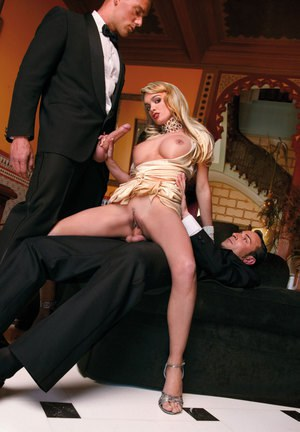 Classy chick in formal gown getting double penetration in evening threesome