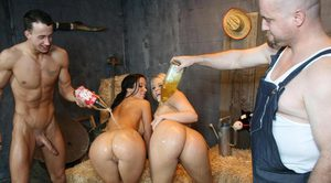 Horny farm girls oil hot asses to get banged by the boys in hot barn groupsex