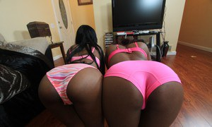 Hot ebony sluts with oiled black booty kissing and ball licking BBC in 3some