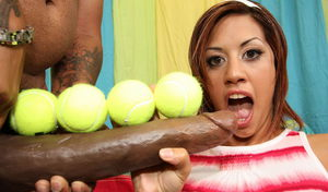 Cute Latina girl takes a massive money shot from a long penis