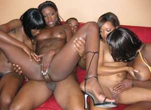 Group of black girls with big butts tangle with a black man on sofa