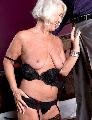 Horny grandmother Jeannie Lou summons her younger lover in black stockings