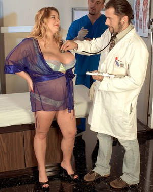 Pregnant female with massive tits rides a male nurse in gynecologist's office