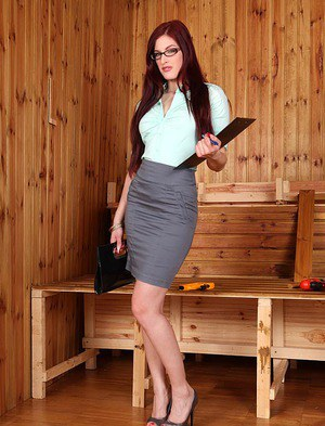 Skirt and glasses garbed babe Mira Sunset giving blowjob at gloryhole