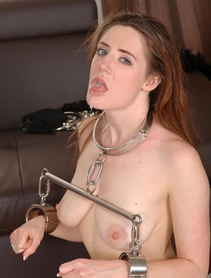 Kinky couple uses young collared slave girl in BDSM fetish threesome