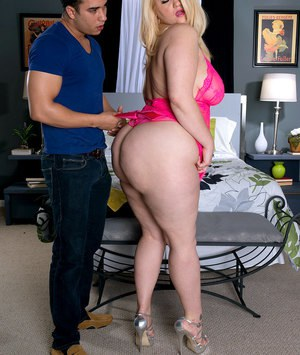 Blonde hot fatty Mazzaratie M in pink lace lingerie facesitting in high heels