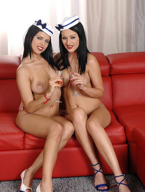 Stewardesses Kira Queen  Nicole Smith shed uniforms for hot lesbian sex