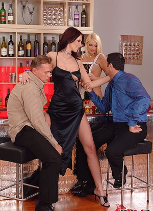 Busty Euro chicks Gabriela  Marsha Lord give groupsex bj before taking DP