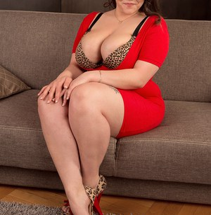 Large BBW Beti Phellasio in red dress showing off her massive saggy boobs