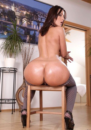 Clothed chick exposes her big ass before taking in the back door