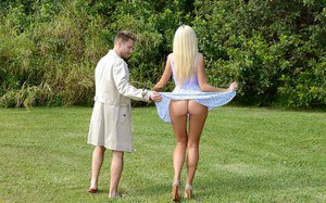 Blonde MILF and fellow flasher go inside to screw after getting aroused