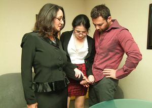 Clothed woman Tatiana Petrova and Persia find a coworker jerking his big cock
