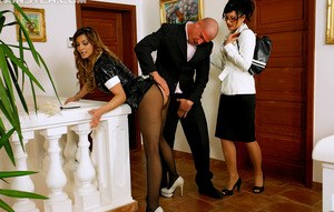 Fully clothed couple and their maid partake in threesome sex