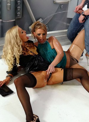 Hot richies flash sexy upskirt, eat pussy & get pissed on in bank vault 3some