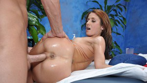 Hottie with an ass to die for gets oiled up and banged by her masseur