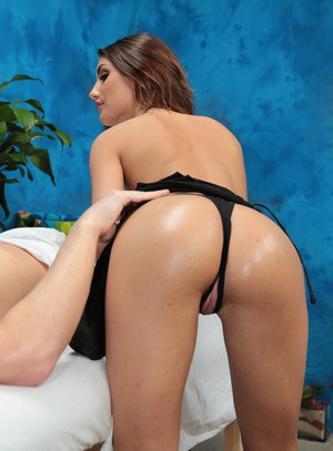 Hot brunette masseuse with perky tits in heels riding client cowgirl style