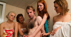 A unisex sauna is a great place for aCFNM handjob from four sexy ladies