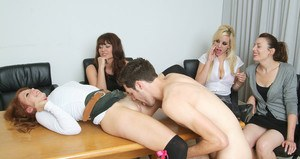 Office boy gets fucked and sucked in hot CFNM reverse gangbang
