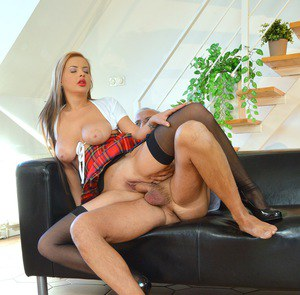 Younger girl in a plaid skirt and nylons scratches fucking an old man off list