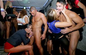 Kinky European girls show off their cock fucking skills at the CFNM party
