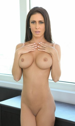 Brunette MILF Jessica Jaymes vaunting fake tits during fucking of pierced cunt