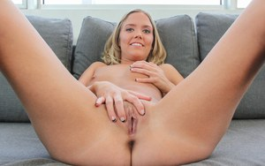 Sweet blonde Megan gets her petite pussy spread & her pretty face cum covered
