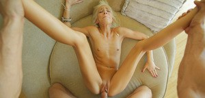 Skinny blonde Kacey Jordan is determined to take as much cock & cum as she can