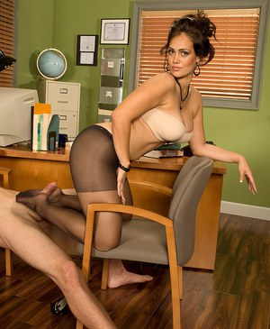 School secretary Yazmina Melendez fucks the principal on his desk in pantyhose