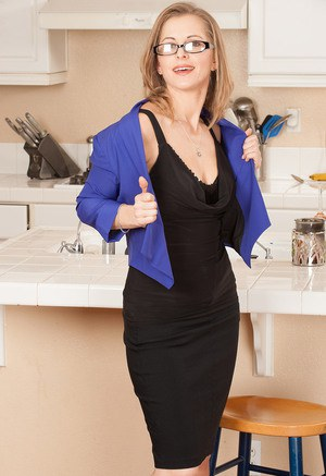 Hot MILF Melissa Rose undressing in the kitchen to show her sexy small tits