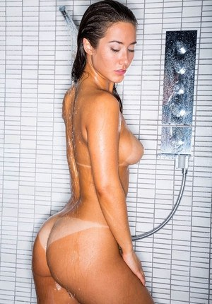 Sexy lesbian girls with firm big tits licking ass  kissing in the shower