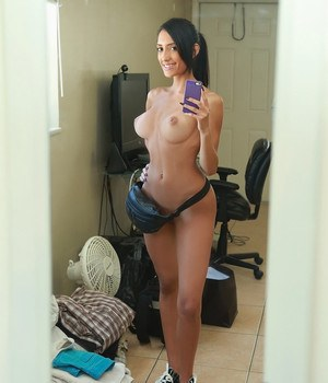 Busty teen taking girlfriend type selfies in mirror before fucking boyfriend