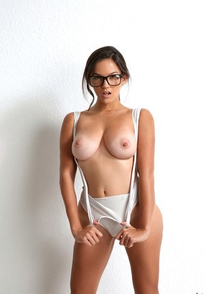 Busty chick wearing glasses and her gf suck off and ride big dick