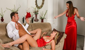 """The best man, Chad, finds out that the bridesmaid, Brooke Wylde, totally loves dick. He sneaks off with her for a quick fuck session. Brooklyn Chase stumbles in on them and is super upset, not so much at the fact that they are fucking, but because she wa"