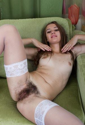 French maid Alya Shon feels the urge to air out her all natural pussy