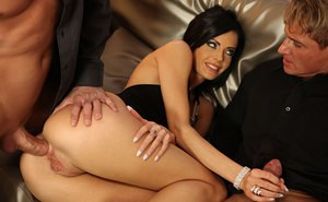 Dark haired pornstar Candy Alexa taking double penetration during MMF 3some