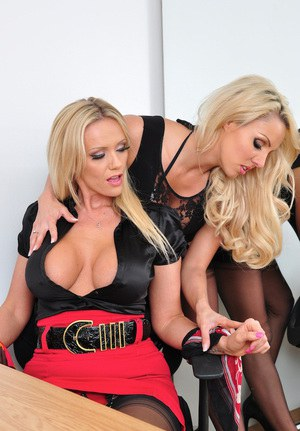 Busty hot blondes Dannii Harwood & Lucy Zara indulge in steamy office BDSM
