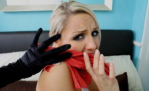 Big boobed blonde Dannii Harwood gets gagged and bound by during home invasion
