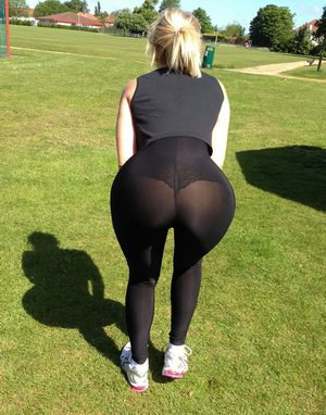 Fitness freak Daniella makes sure everyone notices her ass while exercising