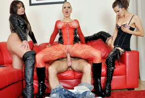 Kinky female Rebecca More and 2 of her hot friends go gaga over a large cock